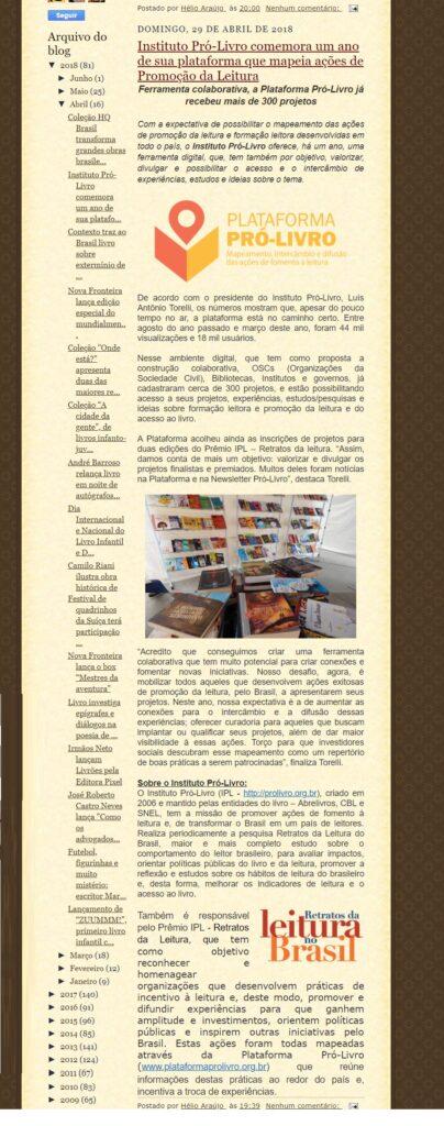 blog incentivo a leitura